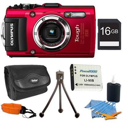 TG-3 16MP 1080p HD Shockproof Waterproof Digital Camera Red 16 GB Kit