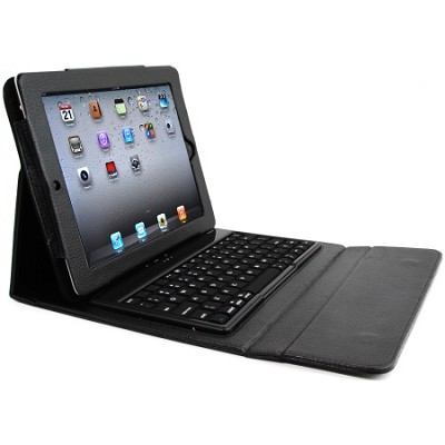 Faux Case with Bluetooth Keyboard for iPad 2, 3, & 4 - Black - OPEN BOX