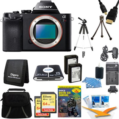 Alpha 7R a7R Digital Camera and 2 64 GB SDHC Cards and 2 Batteries Bundle