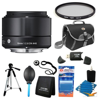 19mm F2.8 EX DN ART Black Lens for Sony Filter Bundle
