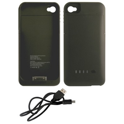 iPhone 4/4S Rubberized Protective 1900mAh Battery Case - Black