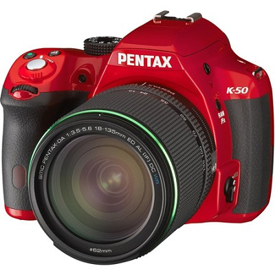 K-50 Red w/ 18-135mm Lens 16MP Digital SLR Camera Kit