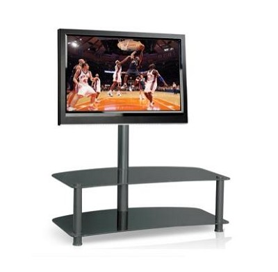 GLASS TV STAND WITH A BRACKET FOR UP TO A 42 INCH TV