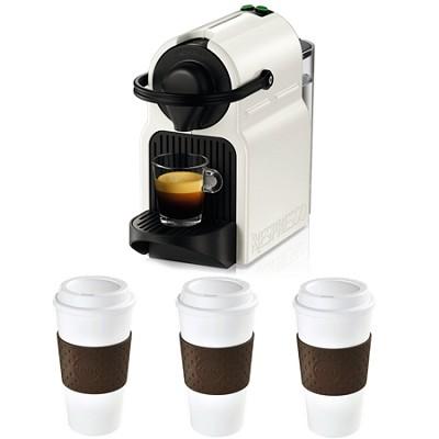 Inissia Espresso Maker (White) Reusable To Go Mug 3-Pack (Brown) Bundle