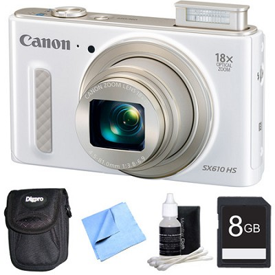 PowerShot SX610 HS 20.2 MP Digital Camera 18x Zoom 3` LCD - White 8GB Bundle