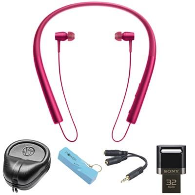 Wireless In-ear Bluetooth Headphones w/ NFC - Pink w/ 32 GB Flash Drive Bundle