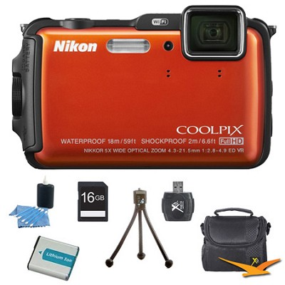 COOLPIX AW120 16MP Waterproof Shockproof Freezeproof Orange Digital Camera Kit