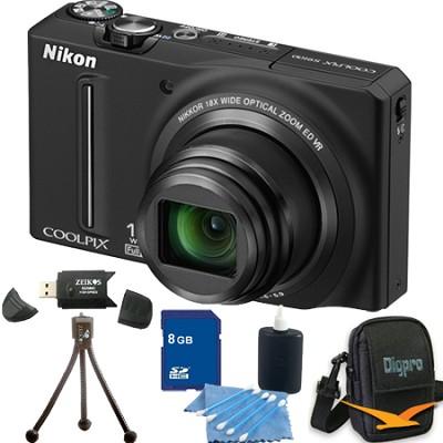 COOLPIX S9100 12MP Black Digital Camera 8GB Bundle