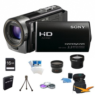 HDR-CX160 Handycam HD Black 16GB Camcorder ULTIMATE BUNDLE