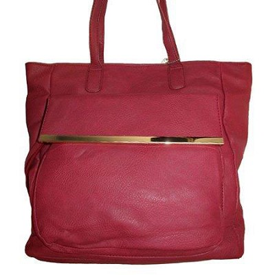 PU Shoulder Bag with Front Pocket in Burgundy - 2084BDY