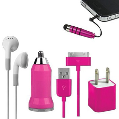 5-in-1 Travel Kit for iPhone 4/4S and 4th Generation iPods - Pink
