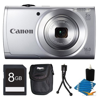 Powershot A2500 Silver Digital Camera 8GB Bundle