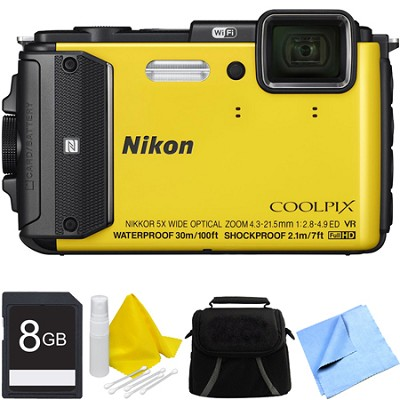 COOLPIX AW130 Waterproof Shockproof Freezeproof Digital Camera 8GB Bundle Yellow
