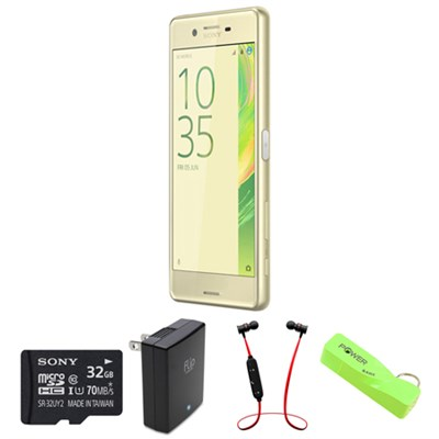 Xperia X Performance 32GB 5` Smartphone Unlocked - Lime Gold w/ Headphone Bundle