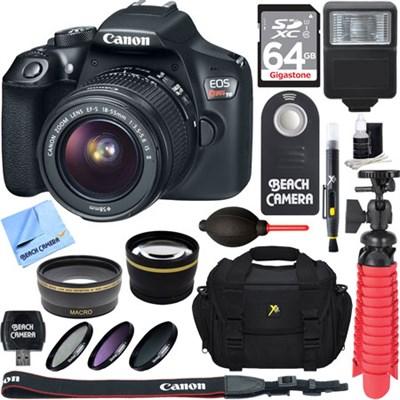 EOS Rebel T6 Digital SLR Camera with EF-S 18-55mm IS II Lens Memory & Flash Kit