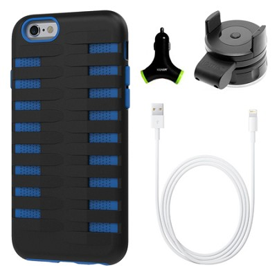 Cobra Apple iPhone 6 Silicone Dual Protective Case - Black/Blue Accessory Bundle