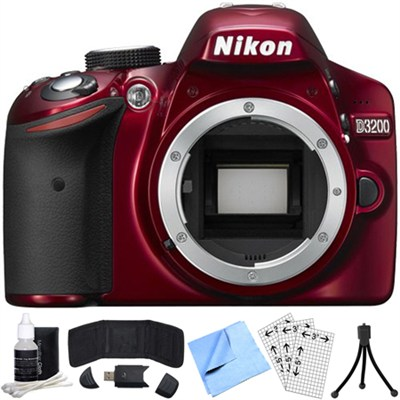 D3200 24.2MP 1080p DX-format Digital SLR Camera Body (Red) Refurbished Bundle