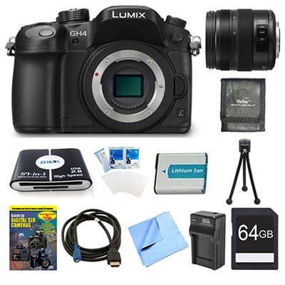 LUMIX DMC-GH4K DSLM Digital Camera Body 64GB and 12-35mm Lens Bundle