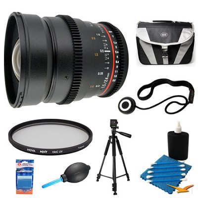 24mm T1.5 Aspherical Wide Angle Cine Lens and Filter Bundle for Canon EF Mount