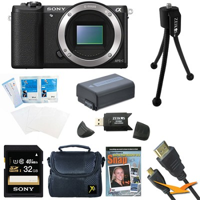 a5100 24.3MP HD 1080p Mirrorless Camera Body Black 32GB Bundle