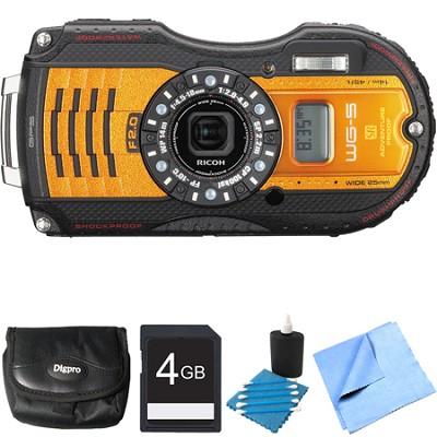 WG-5 GPS 16MP Digital Camera Orange 4GB Bundle
