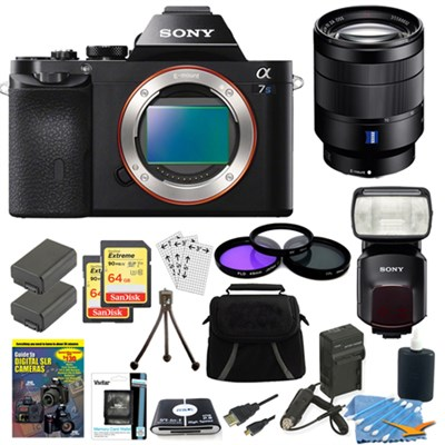 ILCE-7S/B a7S Camera, 24-70mm Lens, 2 64GB Cards, 2 Batteries, Flash Bundle