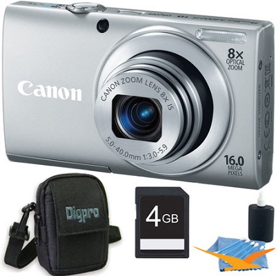 PowerShot A4000 IS 16MP Silver Digital Camera 4GB Bundle