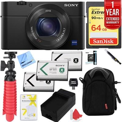 Cyber-shot DSC-RX100 III 20.2 MP Digital Camera with 64GB Extended Warranty Kit