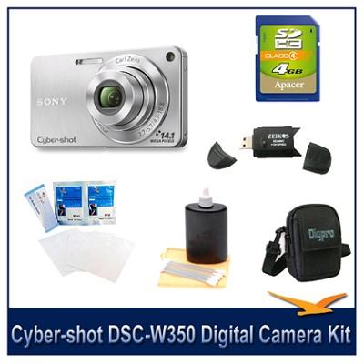 Cyber-shot DSC-W350 14.1 MP Digital Camera (Silver) w/ 4GB Card, Case and More