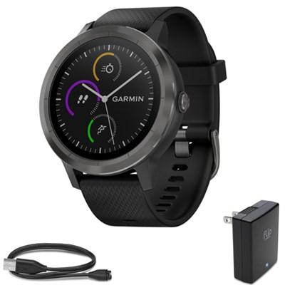 Vivoactive 3 GPS Fitness Smartwatch Black & Gunmetal with Charging Bundle