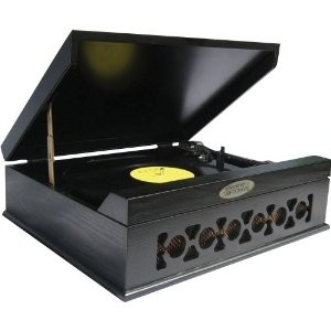 PVNTT6UMB Vintage Style Phonograph/Turntable with USB-To-PC Connection (Black)