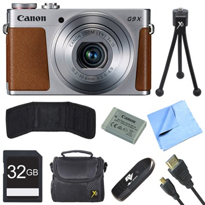 PowerShot G9 X Digital Camera with 3x Optical Zoom Deluxe 32GB Bundle - Silver