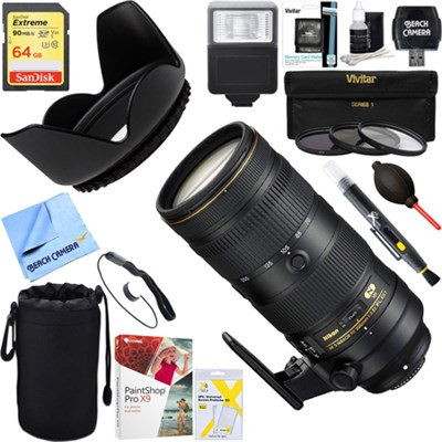 AF-S NIKKOR 70-200mm f/2.8E FL ED VR Zoom Lens 20063 + 64GB Ultimate Kit