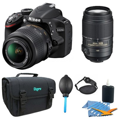 D3200 DX-format DSLR Kit w/ 18-55mm DX VR Zoom Lens and 55-300mm VR Lens (Black)