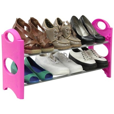 6-Pair 2 Tier Easy To Assemble Shoe Rack - Pink