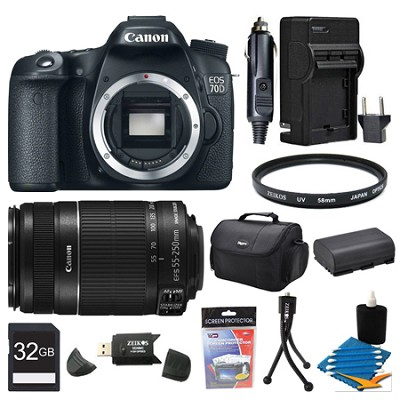 EOS 70D 20.2 MP CMOS (APS-C) Digital SLR Camera Body And 55-250MMIS 32GB Bundle