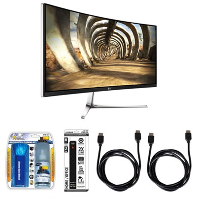 IPS 34` Curved UltraWide QHD LED-Lit Monitor Display w/ Accessory Hook up Bundle