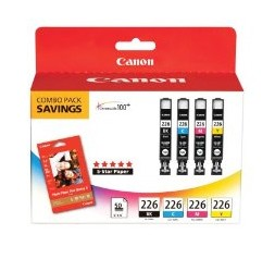CLI-226 BK,C,M,Y Ink with PP-201 50 Sheets Paper Printer Combo Pack