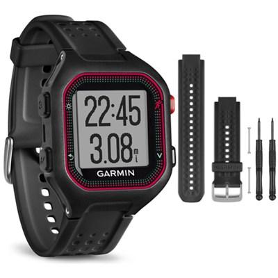 Forerunner 25 GPS Fitness Watch - Large - Black/Red - Black Band Bundle