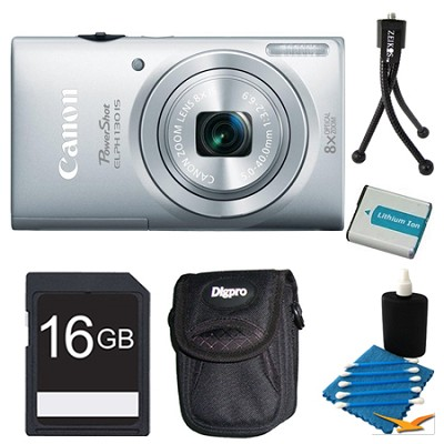 PowerShot ELPH 130 IS Silver 16MP Digital Camera 16GB Bundle
