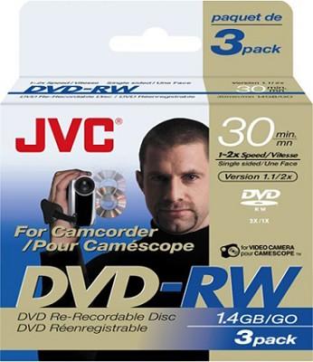 Mini DVD-RW re-writable single-sided Discs (3-pack) f/ DVD Camcorders  (1.4 GB)
