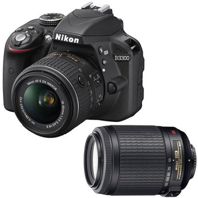 D3300 24.2 MP Digital SLR w/18-55mm & 55-200mm Dual VR Lens Bundle - Refurbished