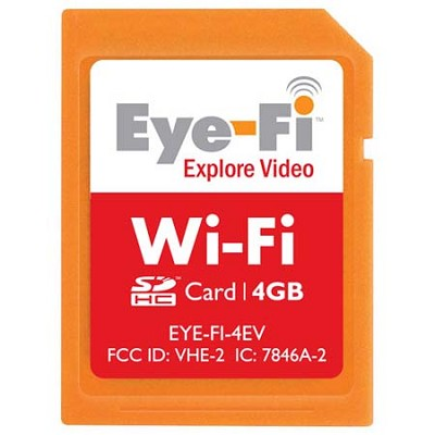 4GB Explore Video Wi-Fi Wireless SDHC Memory Card (EYE-FI-4EV)