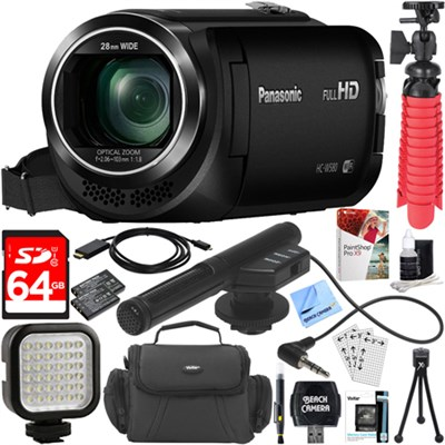 HC-W580K Full HD Camcorder with Mini Zoom Microphone + 64GB Accessory Bundle