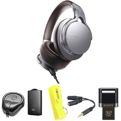 Premium Hi-Res Amp-Integrated Headphone - Silver w/ FiiO A3 Amplifier Bundle