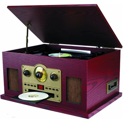 SRCD838 5-in-1 Nostalgic Turntable with CD/Cassette/Radio & Aux-In - OPEN BOX