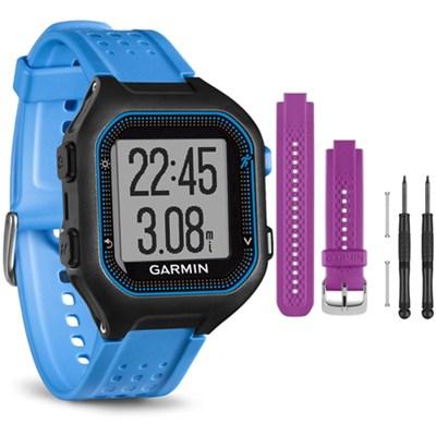 Forerunner 25 GPS Fitness Watch - Large - Black/Blue - Purple Band Bundle