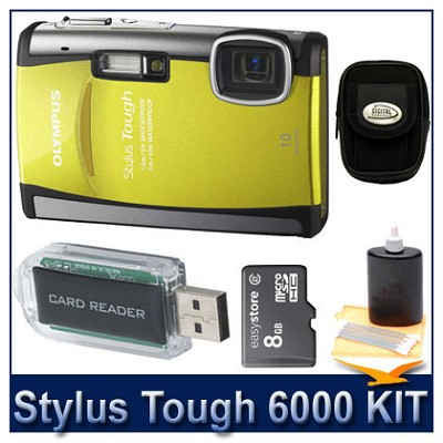 Stylus Tough 6000 10MP 2.7` LCD Digital Camera (Yellow) Ultra Savings Bundle