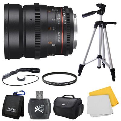 DS 24mm T1.5 Full Frame Wide Angle Cine Lens for Canon EF Mount Bundle