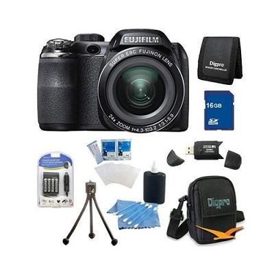 FinePix S4200 24x Optical Zoom 14 MP 3 inch LCD Digital Camera 8 GB Bundle